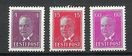 ESTLAND Estonia 1936 Michel 124 - 126 MNH - Estonie
