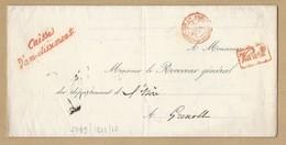Grand Lac Dir Général Caisse Dépôts Et Consignations TAD Chambre Des Pairs PARIS 29/1/1862 Vers Grenoble TB - Postmark Collection (Covers)