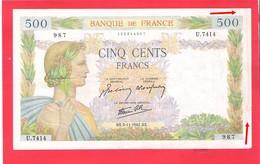 Billet 500 Francs La Paix Très Bel Exemplaire Petits Défauts Couleurs Vives 1942 - 1871-1952 Anciens Francs Circulés Au XXème