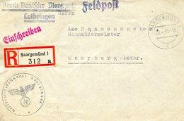 Lettre Recommandée En Franchise Postale De Sarreguemines Pour Sarrebourg, Datée Du 29/04/1943 - Alsace-Lorraine