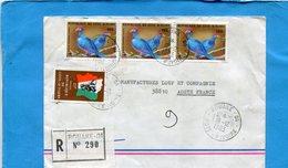 Marcophilie-cote D'ivoire-lettre REC- Pour Françe-cad Bouaké--4 Stamps -N°662 Birds-oiseaux Touracos - Côte D'Ivoire (1960-...)