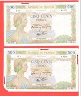 Lot De 2 Billet 500 Francs La Paix Exemplaires Avec Défauts Mais Bel Aspect 1940 Et 1941 - 1871-1952 Anciens Francs Circulés Au XXème