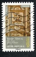 2014 Escalier Henri II, Paris Louvre, Valeur Faciale : 0,61 € Timbre Usagee, Objets D'Art Renaissance En France - France