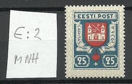 Estonia 1936 CARITAS Michel 111 E: 2 ERROR Variety Abart MNH - Estland
