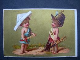 CHROMO Doré Litho Testu & Massin AU BON MARCHE BOUCICAUT : LES BEBES JOUANTS AUX SOLDATS / Victorian Trade Card - Sonstige