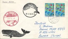 1977 , JAPÓN , SOBRE CIRCULADO , KIYOSE - VIENA , MAT. ESPECIAL MAMIFEROS MARINOS , BALLENAS - 1926-89 Empereur Hirohito (Ere Showa)