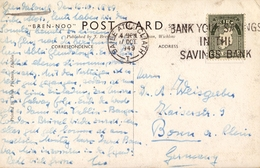 1949 , IRLANDA , TARJETA POSTAL CIRCULADA , BAILE ATHA CLIATH - BONN , ROUND TOWER AT GLENDALOUGH - 1937-1949 Éire