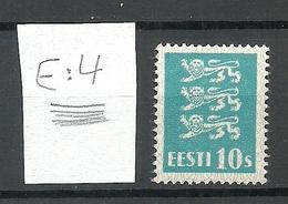 ESTLAND Estonia 1928 Michel 79 E: 4 ERROR Variety Abart Horizontally Ribbed Paper * - Estland