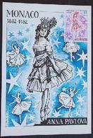 CARTE MAXIMUM  –MONACO   ANNA PAVLOVA 1882-1982 - Maximum Cards