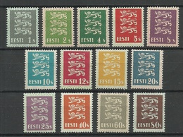 Estland Estonia 1928/29 Michel 74 - 86 THIN PAPER TYPE Dünne Papiersorte MNH - Estonia