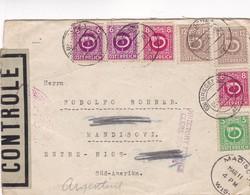 ENVELOPPE CIRCULEE AN 1946 BREGENZ A ENTRE RIOS(ARGENTINE) VIA NEW YORK-OPENED BY CENSOR-4 COLOR STAMPS...-RARE - BLEUP - 1945-60 Briefe U. Dokumente