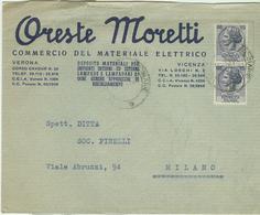 ORESTE MORETTI - VERONA-VICENZA -MATERIALE ELETTRICO - BUSTA CON LOGO,1961, - Italie