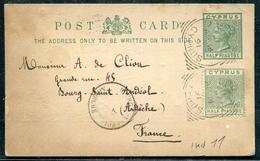 CHYPRE - ENTIER POSTAL TYPE VICTORIA OBL LIMASSOL LE 14/4/1891 POUR LA FRANCE - TB - Cyprus
