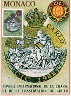 CARTE MAXIMUM  –  MONACO 1982  Conseil International De La Chasse Et De La Conservation Du Gibier - Maximum Cards