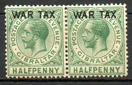 GIBRALTAR - (Colonie Britannique) - 1918 - Paire Du N° 73 - 1/2 P. Vert-gris - (Effigie De George V) - Gibilterra