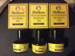 3 FLACONS ENCRIERS PELIKAN Encre De Chine à La Perle GÜNTHER WAGNER  Made In Germany - Encriers