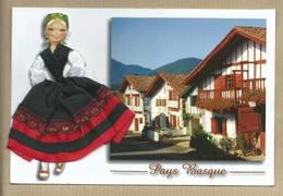 Carte Brodée Pays Basque Français Costume Régional Espadrille Maison Basque - écrite De Saint Jean De Luz - - Brodées