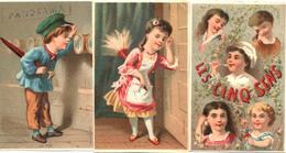 3 Figurine, Chromos, Victorian Trade Cards.  I Cinque Sensi. Les Cinq Sens. Bognard BOG 1-11 - Cromo