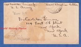 """Enveloppe Postée Par Le Soldat Américain Carlton SIMON Jr , Co. F 102nd Infantry - """" Dads Christmas Letter """" - Noel Ww1 - Militaria"""