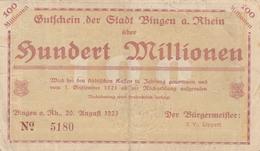 GUTSCHEIN Der Stadt BINGEN AM RHEIN über Hundert Millionen Den 20 August 1923 - Billets