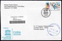 2007-FDC-110 CUBA FDC 2007. REGISTERED COVER TO SPAIN. UNESCO, SOCIEDAD DE TUMBA FRANCESA, DANCE, COSTUMES. - FDC
