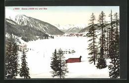 AK Davos, Ortsansicht Mit Zugefrorenem See Im Winter - GR Grisons