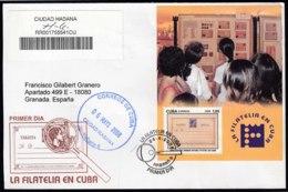 2008-FDC-41 CUBA FDC 2008. REGISTERED COVER TO SPAIN. HF 130 ANIV ENTERO POSTAL, LA FILATELIA EN CUBA. - FDC