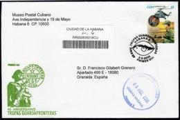 2008-FDC-47 CUBA FDC 2008. REGISTERED COVER TO SPAIN. 45 ANIV GUARDAFRONTERAS, COASTGUARD, HELICOPTERO. - FDC