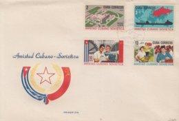 1966-FDC-68 CUBA FDC 1966. AMISTAD CUBA – RUSIA, RUSSIA, SHIP, AGRICULTURE, LENIN HOSPITAL. - FDC