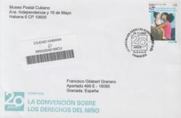 2009-FDC-54 CUBA FDC 2009. REGISTERED COVER TO SPAIN. 20 ANIV CONVENCION DERECHOS DEL NIÑO, CHILDREN RIGHT. - FDC