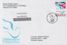 2009-FDC-63 CUBA FDC 2009. REGISTERED COVER TO SPAIN. 60 ANIV MOVIMIENTO POR LA PAZ, PEACE, PALOMA, PIGEON. - FDC