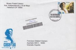 2009-FDC-73 CUBA FDC 2009. REGISTERED COVER TO SPAIN. 50 ANIV CASA DE LAS AMERICAS, HAYDEE SANTAMARIA. - FDC