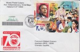2009-FDC-77 CUBA FDC 2009. REGISTERED COVER TO SPAIN. HF 60 ANIV CTC, LAZARO PEÑA. - FDC
