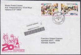2010-FDC-63 CUBA FDC 2010. REGISTERED COVER TO SPAIN. COMPAÑIA TEATRO LA COLMENITA, CHILDREN THEATER. - FDC