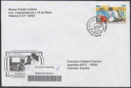 2010-FDC-72 CUBA FDC 2010. REGISTERED COVER TO SPAIN. 50 ANIV AJR, ASOCIACION DE JOVENES REBELDES. - FDC