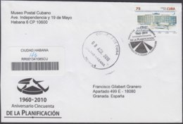 2010-FDC-73 CUBA FDC 2010. REGISTERED COVER TO SPAIN. 50 ANIV DE LA PLANIFICACION NACIONAL. - FDC