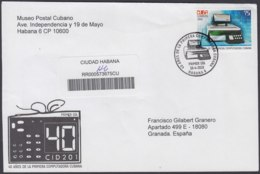 2010-FDC-79 CUBA FDC 2010. REGISTERED COVER TO SPAIN. 50 ANIV PRIMERA COMPUTADORA CUBANA, CID201, COMPUTER, - FDC