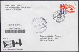 2010-FDC-80 CUBA FDC 2010. REGISTERED COVER TO SPAIN. 65 ANIV RELACIONES CON CANADA, MANOS, HANDS. - FDC