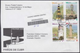 2010-FDC-85 CUBA FDC 2010. REGISTERED COVER TO SPAIN. FAROS DE CUBA, LIGHTHOSE, CAYO LUCRECIA, CAYO JUTIA, - FDC