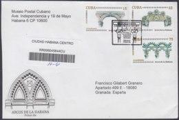 2010-FDC-86 CUBA FDC 2010. REGISTERED COVER TO SPAIN. ARCOS DE LA HABANA, ARQUITECTURA, ARCHITECTURE. - FDC