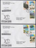 2010-FDC-93 CUBA FDC 2010. REGISTERED COVER TO SPAIN. FITCUBA, TURISMO, TURISM, HOMGUIN, GUANTANAMO, - FDC