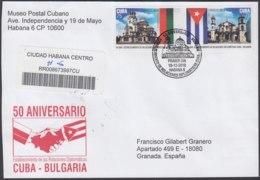 2010-FDC-98 CUBA FDC 2010. REGISTERED COVER TO SPAIN. 50 ANIV RELACIONES DIPLOMATICA CON BUGARIA, BULGARY SE TENAM. - FDC