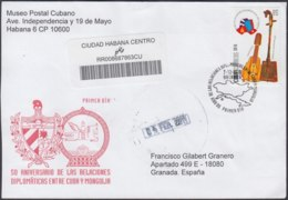 2010-FDC-100 CUBA FDC 2010. REGISTERED COVER TO SPAIN. 50 ANIV RELACIONES DIPLOMATICA CON MONGOLIA. - FDC