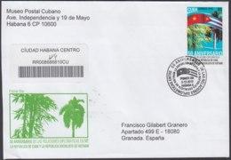 2010-FDC-101 CUBA FDC 2010. REGISTERED COVER TO SPAIN. 50 ANIV RELACIONES DIPLOMATICA CON VIETNAM. - FDC