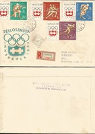 J) 1964 HUNGARY, WINTER OLYMPICS, SKATING ON ICE, HOCKEY ON ICE, REGISTERED, MULTIPLE STAMPS, AIRMAIL, CIRCULATED COVER, - Hungary