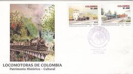 LOCOMOTORAS DE COLOMBIA, PATRIMONIO HISTORICO Y CULTURAL. FDC 2004 SANTIAGO DE CAIL. STAMP A PAIR - BLEUP - Trains