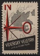 Deutsches Reich NAZI Germany MAP / Czechoslovakia - Austria Wien Vienna Exhibition Fair CINDERELLA LABEL VIGNETTE 1938 - Otros