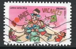 2015 BONNES VACANCES, Valeur Faciale : 0,68 € Timbre Usagee De FRANCE, Père En Vacances - France