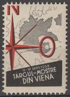 MAP Deutsches Third Reich NAZI Germany Austria Wien Vienna ROMANIA Exhibition Fair CINDERELLA LABEL VIGNETTE 1938 - Otros