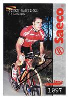 CARTE CYCLISME GINES SALMERON SIGNEE  TEAM SAECO 1997 - Cyclisme